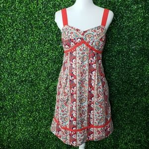 Tommy Hilfiger Floral Paisley Boho Red White Dress